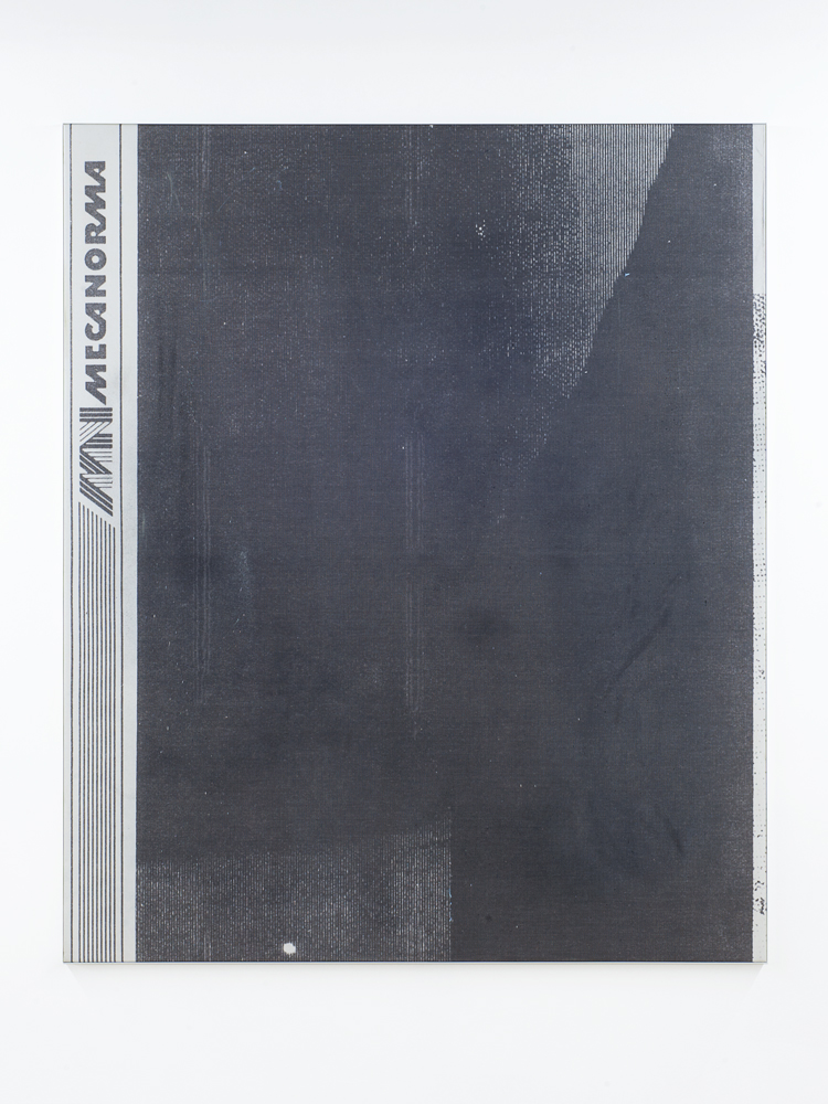 Manor Grunewald E.H.D (letratone black mesh #02) 150x180cm oil, acrylics, spraypaint, UV print, mesh cloth on canvas aluminium framed 2015