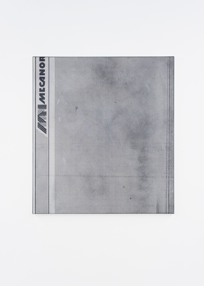 Manor Grunewald E.H.D (mecanorma black mesh #01) 90x100cm oil, acrylics, spraypaint, UV print, mesh cloth on canvas aluminium framed 2015